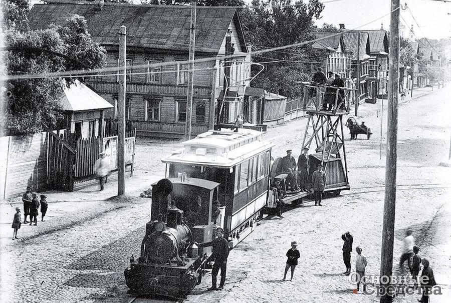 Вышка на базе трамвая (начало XX века)