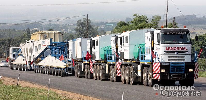 Tractomas перевозит сверхтяжелый трансформатор весом 1050 т по дороге суклоном 12% (ЮАР, 2007 г.)