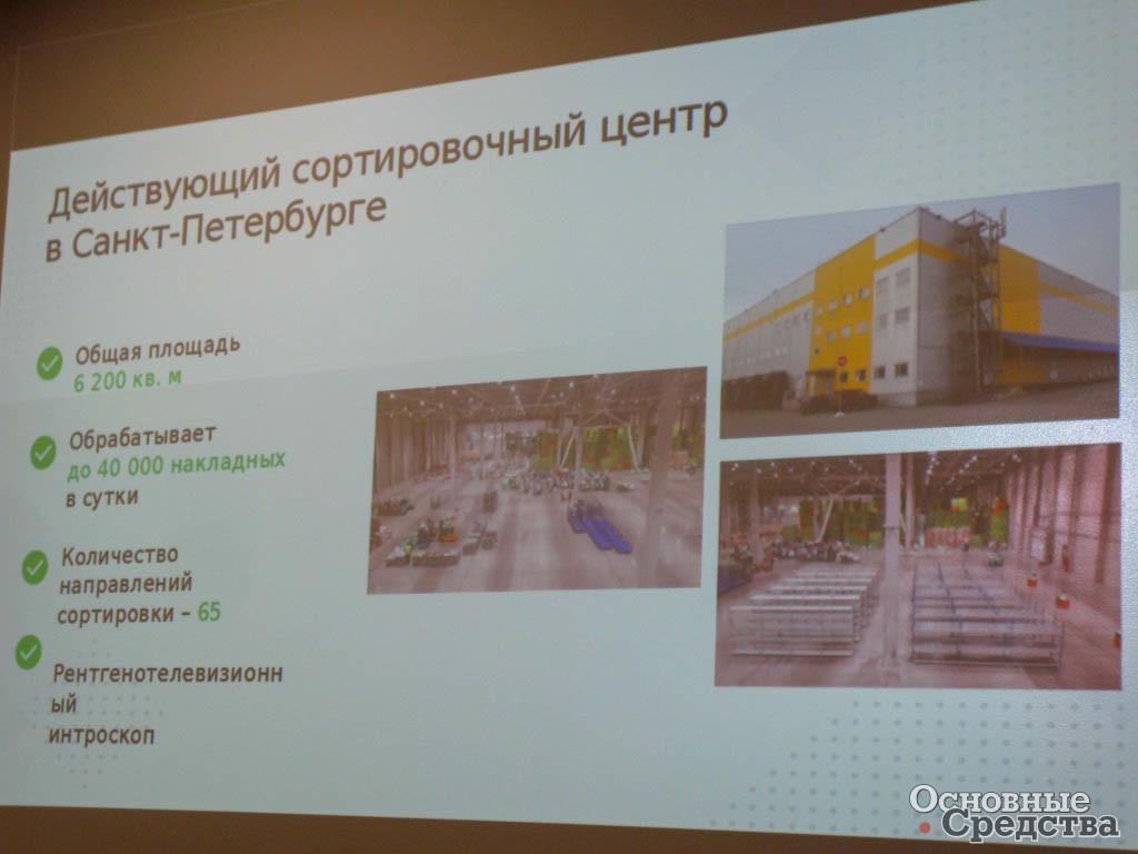 Параметры работы действующего сортировочного центра-склада в Санкт-Петербурге